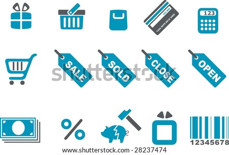 Vector icons pack - Blue Series, shopping collection