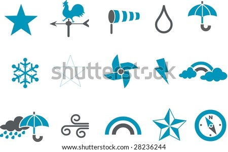 Vector icons pack - Blue Series, weather collection