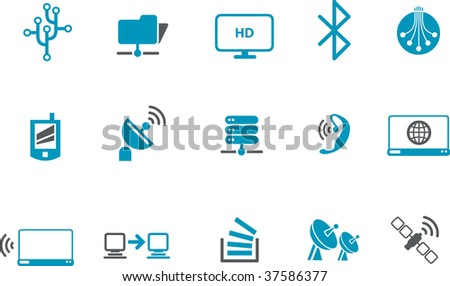 Vector icons pack - Blue Series, wi-fi collection