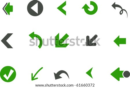Vector icons pack - Green Series, arrows collection