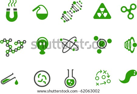 Vector icons pack - Green Series, chemistry collection