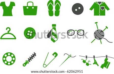 Vector icons pack - Green Series, clothing collection