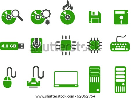Vector icons pack - Green Series, computer collection - stock vector