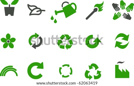 Vector icons pack - Green Series, eco collection