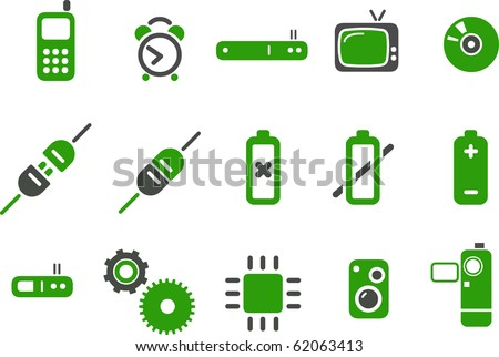 Vector icons pack - Green Series, electronic collection