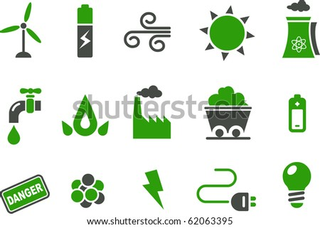 Vector icons pack - Green Series, energy collection
