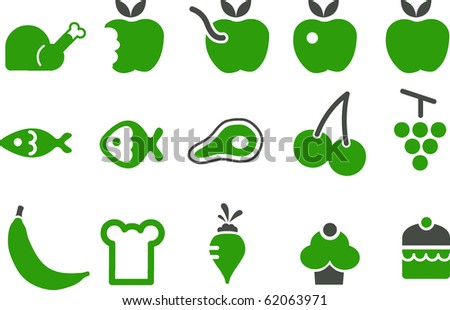 Vector icons pack - Green Series, food collection