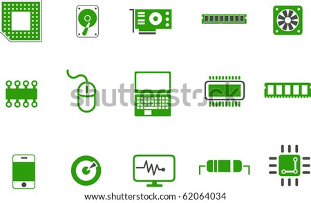 Vector icons pack - Green Series, hardware collection - stock vector