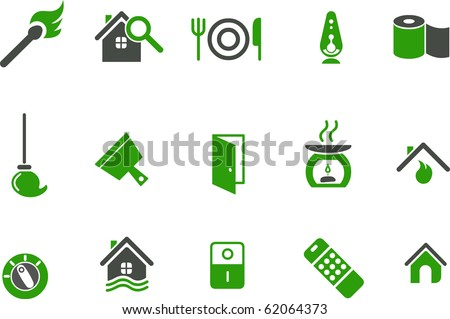 Vector icons pack - Green Series, house collection