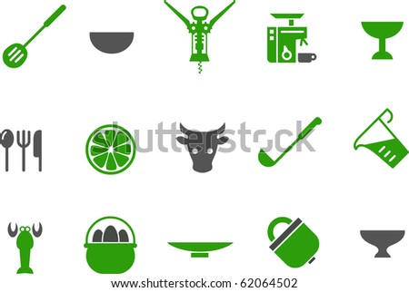 Vector icons pack - Green Series, kitchen collection