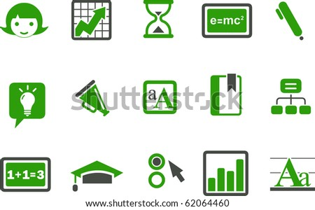 Vector icons pack - Green Series, learning collection