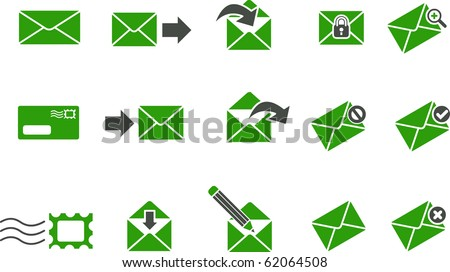Vector icons pack - Green Series, mail collection