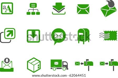 Vector icons pack - Green Series, mailing collection
