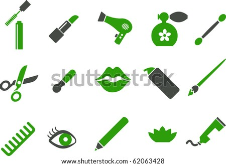 Vector icons pack - Green Series, make-up collection