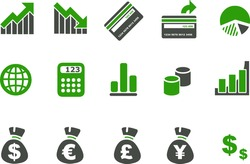 Vector icons pack - Green Series, money collection