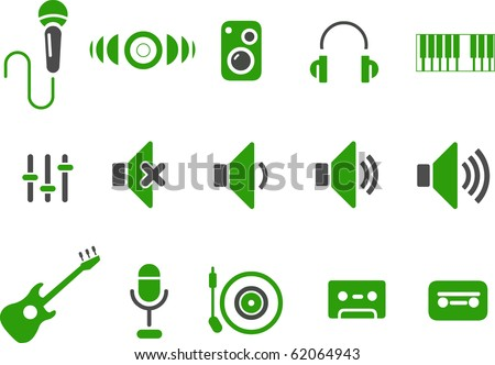 Vector icons pack - Green Series, music collection
