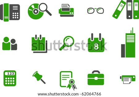 Vector icons pack - Green Series, office collection
