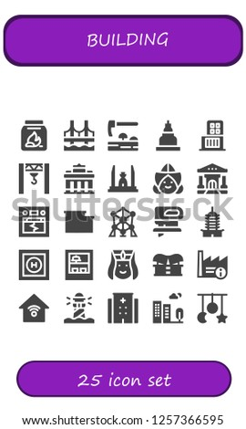 Vector icons pack of 25 filled building icons. Simple modern icons about  - Coal, Bridge, Adze, Temple, Shopping center, Crane, Brandenburg gate, Democracy monument, Dutch, Bank