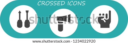 Vector icons pack of 3 filled crossed icons. Simple modern icons about  - Screwdriver, Axe, Promise