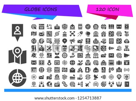 Vector icons pack of 120 filled globe icons. Simple modern icons about  - Gps, Earth grid, Map, Ecology, Web, Network, Email, Plant, Plasma ball, Worldwide, Navigation, Sputnik