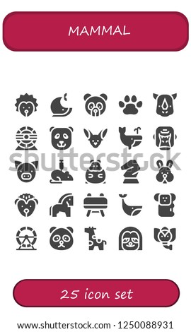 Vector icons pack of 25 filled mammal icons. Simple modern icons about  - Hedgehog, Whale, Panda bear, Pawprints, Rhino, Hamster wheel, Fennec, Gorilla, Pig, Rat, Hamster, Horse