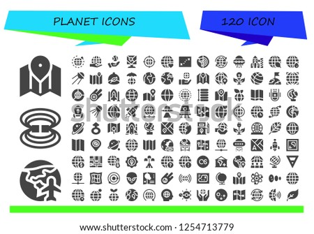 Vector icons pack of 120 filled planet icons. Simple modern icons about  - Map, Planet earth, Magnetic field, World, Worldwide, Earth, Earth grid, Ufo, Rocket, Ecology, Sputnik