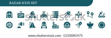 Vector icons pack of 18 filled radar icons. Simple modern icons about  - Stewardess, Radar, Autonomous car, Spacing, Sputnik, Destination, Satellite dish, Parabola, Control tower