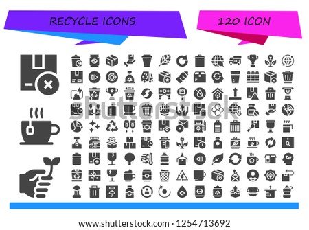 Vector icons pack of 120 filled recycle icons. Simple modern icons about  - Package, Eco friendly, Cup, Trash, Can, Renewable energy, Redo, Garbage, Ecology, Garbage truck, Green energy