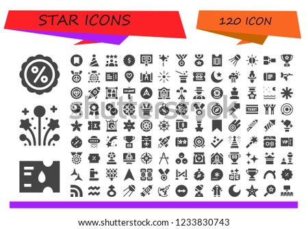 Vector icons pack of 120 filled star icons. Simple modern icons about  - Discount, Ticket, Fireworks, Bookmark, Party hat, Rating, Badge, Merit, Wand, Medal, Sputnik, Brightness, Competition