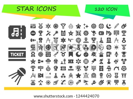 Vector icons pack of 120 filled star icons. Simple modern icons about  - Ticket, Sputnik, Tickets, Medal, Sheriff, Sea urchin, Mirror ball, Star, Stars, Favorite, Compass, Night, Fireworks