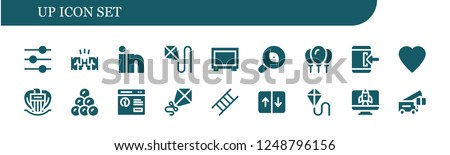 Vector icons pack of 18 filled up icons. Simple modern icons about  - Control, Fist, Linkedin, Kite, Big screen, Research, Balloons, Login, Like, Nice, Round shot, Pop up, Ladder