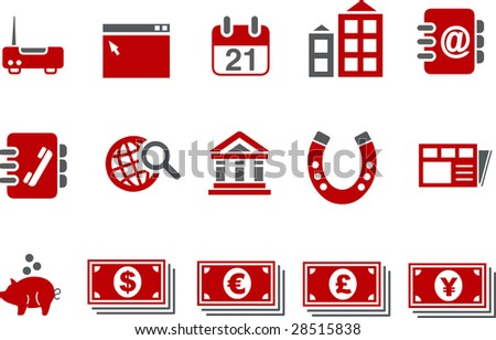 Vector icons pack - Red Series, business collection