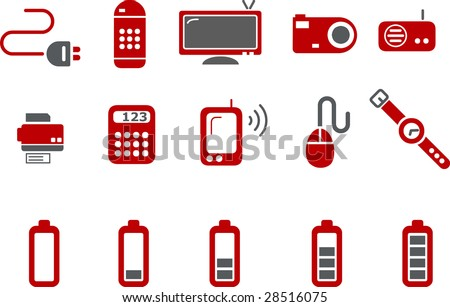 Vector icons pack - Red Series, electronic collection