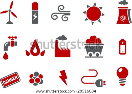Vector icons pack - Red Series, energy collection
