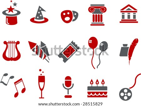 Vector icons pack - Red Series, entertainment and art collection