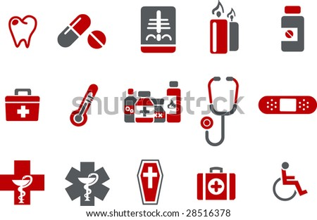 Vector icons pack - Red Series, health collection