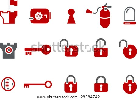 Vector icons pack - Red Series, security collection