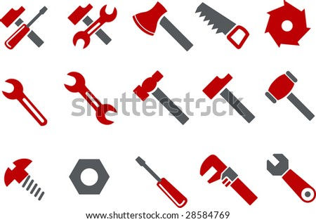 Vector icons pack - Red Series, tool collection