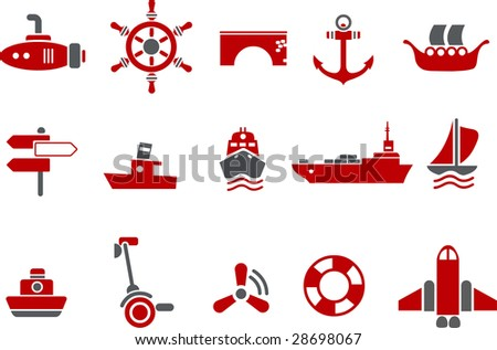 Vector icons pack - Red Series, transport collection
