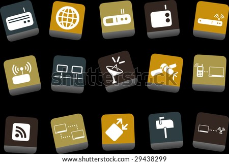 Vector icons pack - Yellow-Brown-Blue Series, communication collection