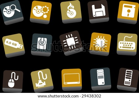 Vector icons pack - Yellow-Brown-Blue Series, computer collection