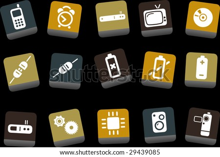 Vector icons pack - Yellow-Brown-Blue Series, electronic collection