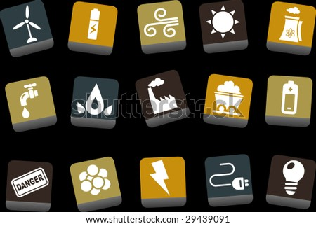 Vector icons pack - Yellow-Brown-Blue Series, energy collection