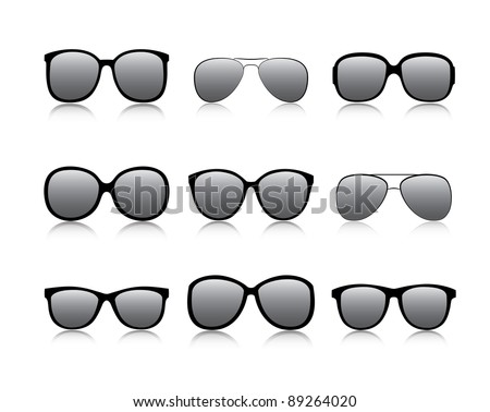 Vector icons set black Eye glasses a white background