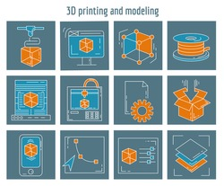 Vector icons set 3d printing and modeling