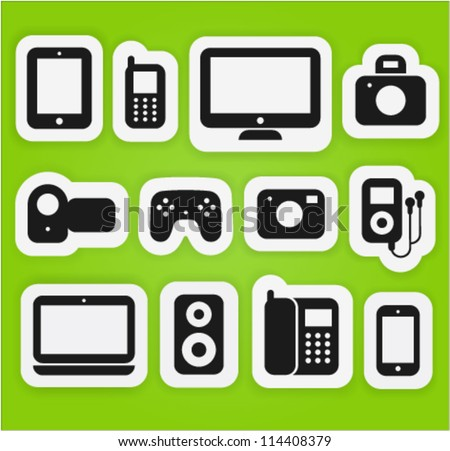 Vector icons set different multimedia digital devices.
