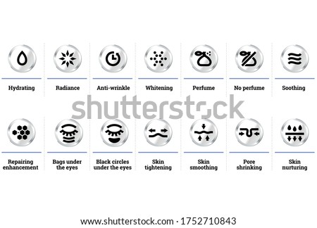 Vector icons set for cosmetic dermatology products packaging Photo stock ©
