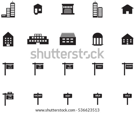 Vector icons set for real estate on white background