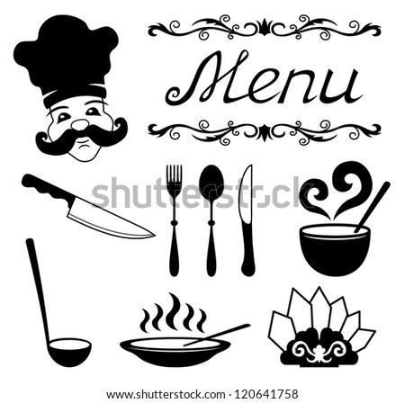 Vector. Icons set for restaurant, cafe.