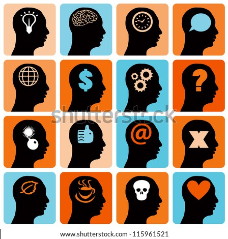 Vector Icons set head think silhouette vector